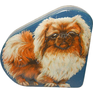 Made In England Pekingese Dog Tin Container