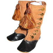AWESOME High Top Two-Tone Leather Boots 8 Brass Buttons And Tassels For Big Dolls Baby Shoes 4.25 Inches Foot 5 Inches Tall