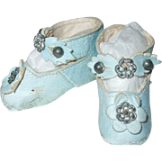 Sweet Baby Blue Keystone Doll Shoes Size 2 Small Doll