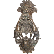 Unique And Rare Brass Massive Doorknocker Gothic Man's Face With Cherubs