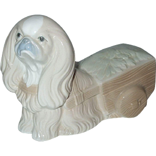 Made In Spain English Toy Spaniel Dog Pulling Cart Figurine
