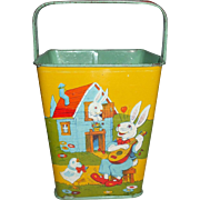 J Chein & Co Sand Pail Rabbits, Chickens, Ducks Pumpkin, Mushrooms Great For Easter Or Display With Dolls