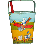 J Chein & Co Sand Pail Rabbits, Chicks, Ducks Airplane Vehicle Great For Easter Or Display With Dolls