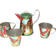 Child or Doll Sized Tin Litho Tea Set With Butterflies