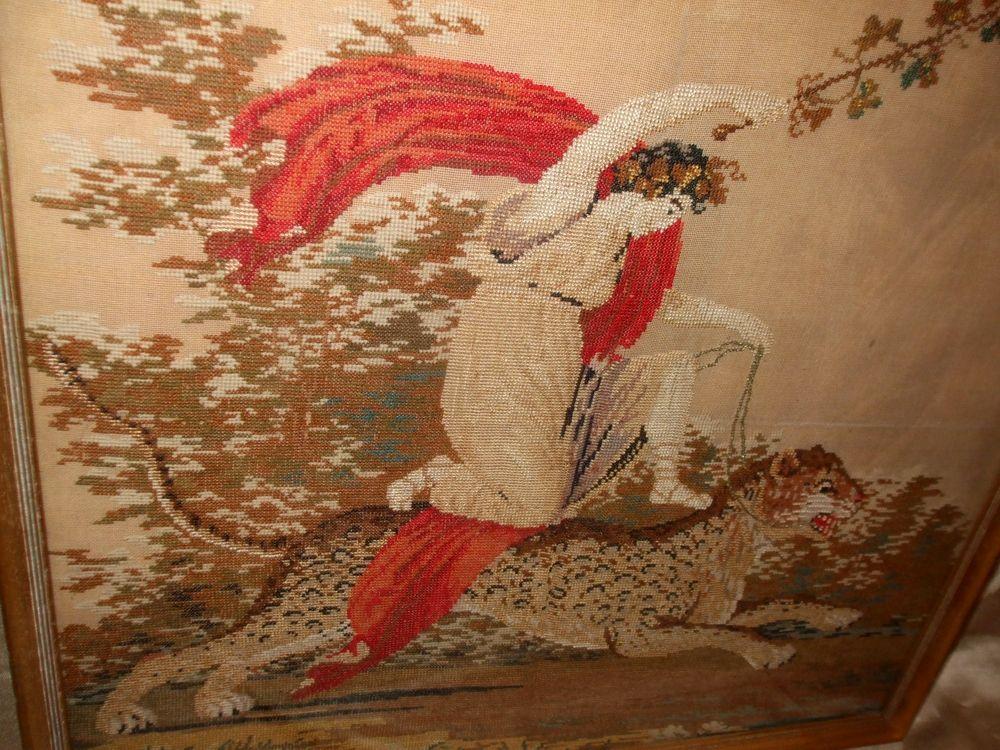 Greek God Dionysus Cross Stitch Embroidered Linen Framed