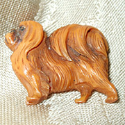 Butterscotch Bakelite Pekingese Dog Pin