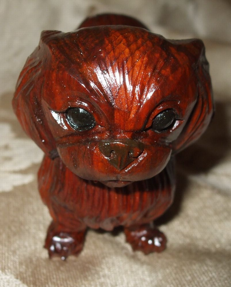 Fabulous Wood Carved Pekingese Dog