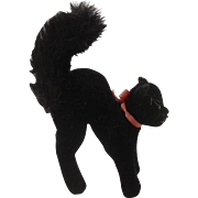 Steiff's Medium Sized Black Mohair Tom Cat With ID - Red Tag Sale Item