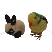 Pair of Two Steiff Woolen Miniature Animals - A Bird and A Bunny Rabbit