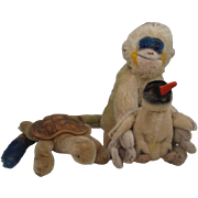 Collection of Three Adorable Steiff Mohair Animals With IDs - Mungo the Monkey, Slo the Turtle, and Peggy the Penguin