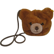 Steiff's Small Plush Bear Head Purse with IDs