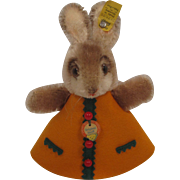 Steiff's Adorable Rabbit Nightcap Animal In An Orange Felt Dress With All IDs