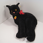 Steiff's Really Rare And Fantastically Adorable Large Lying Black Cat With All IDs