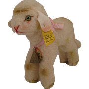 Steiff's Medium Sized Lamby Lamb With All IDs and A Pink Bow