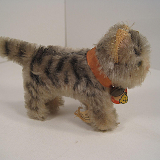 Steiff's Smallest And Very Early Postwar Mohair Tabby Cat With All IDs
