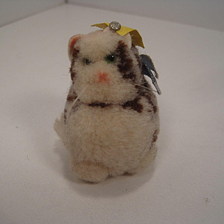 Steiff's Tiny Woolen Miniature Sitting Kitty Cat With All IDs