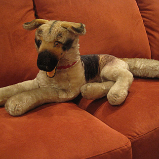 Steiff's Largest Mohair Lying Arco German Shepherd Dog With IDs