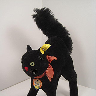 Steiff's Largest Post War Black Scary Tom Cat With All IDs
