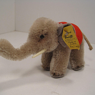 Steiff's Smallest Grey Mohair Standing Baby Elephant With All IDs