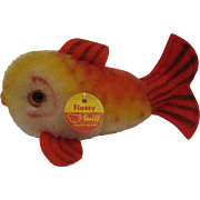 Steiff's Smallest Red and Gold Mohair Flossy Fish With ID