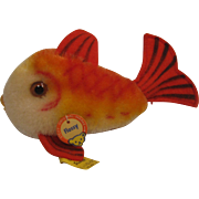 Steiff's Smallest Red and Gold Mohair Flossy Fish With All IDs