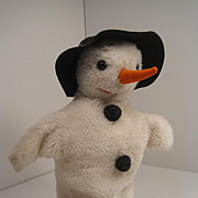 Steiff's Incredibly Rare Sneba Snowman Puppet With IDs