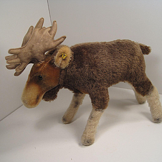 Steiff's Largest Mohair Moose With Puffy Antlers and IDs