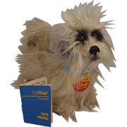 Steiff's Unusual and Seldom Seen Theophil Dog With All IDs and Special Miniature Steiff Book