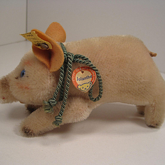 Steiff's Smallest Mohair Standing Jolanthe Pig With All IDs