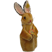 Steiff's Early And Lovely Mohair Rabbit Puppet With All IDs