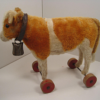 Steiff's Prewar Mohair Oxen On Wheels