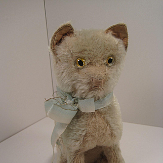 Fabulous 1920's-era Blue Mohair Cat With WORKING Music Box