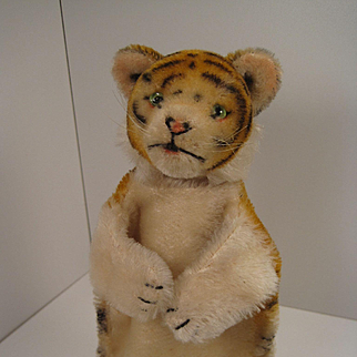 Steiff's Earliest and Adorable Postwar Mohair Tiger Hand Puppet