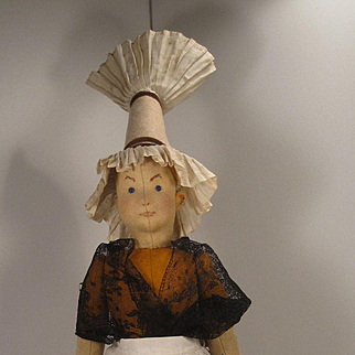 Steiff's Stunning And Probably Prototype Early Felt Doll With Remarkable Hat and Two Steiff Buttons