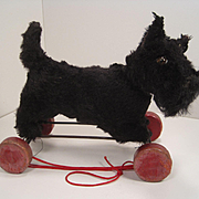 Steiff's Absolutely Adorable Early Post War Black Scotty on Wheels With ID