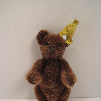 Steiff's Tiny Prewar Brown Mohair Teddy Bear With IDs