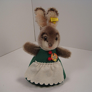 Steiff's Green Felt and Mohair Nightcap Rabbit With All IDs
