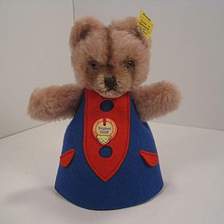 Steiff's Blue and Red Felt Nightcap Teddy Bear With All IDs