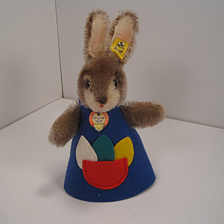Steiff's Mohair Rabbit Nightcap Animal in a Blue Dress With All IDs