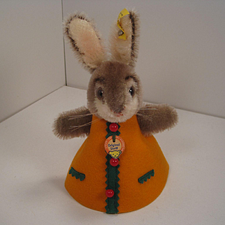 Steiff's Mohair Rabbit Nightcap Animal in an Orange Dress With All IDs