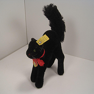 Steiff's Medium Sized Black Tom Cat With All IDs