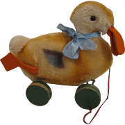 Steiff's Mohair Duck Pull Toy on Wooden Eccentric Wheels