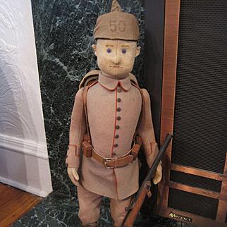 Steiff's Largest World War I Era  Infantryman Doll With Field Equipment And IDs
