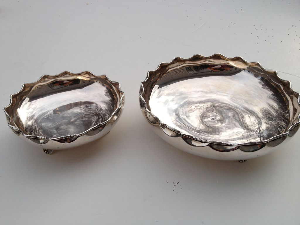 Turkish 2-piece 800 solid silver set of bowls