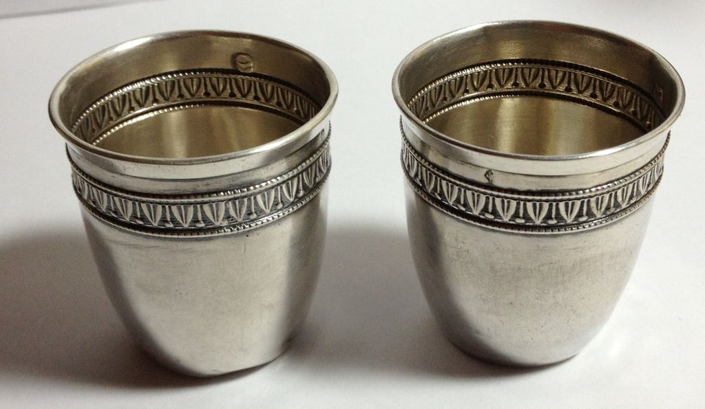 Nice pair of French 950 silver beakers