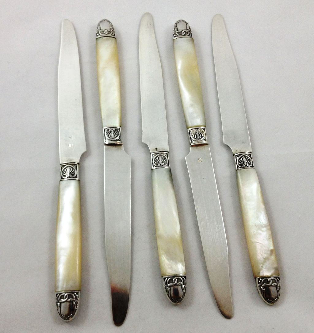 Beautiful set of five French 950 silver mother-of-pearl knives