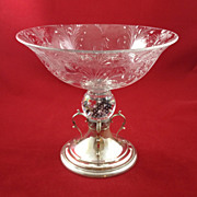 Beautiful Art Nouveau silver-mounted glass compote by Reed and Barton