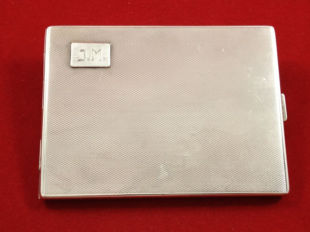 German 830 silver cigarette case, military memorabilia