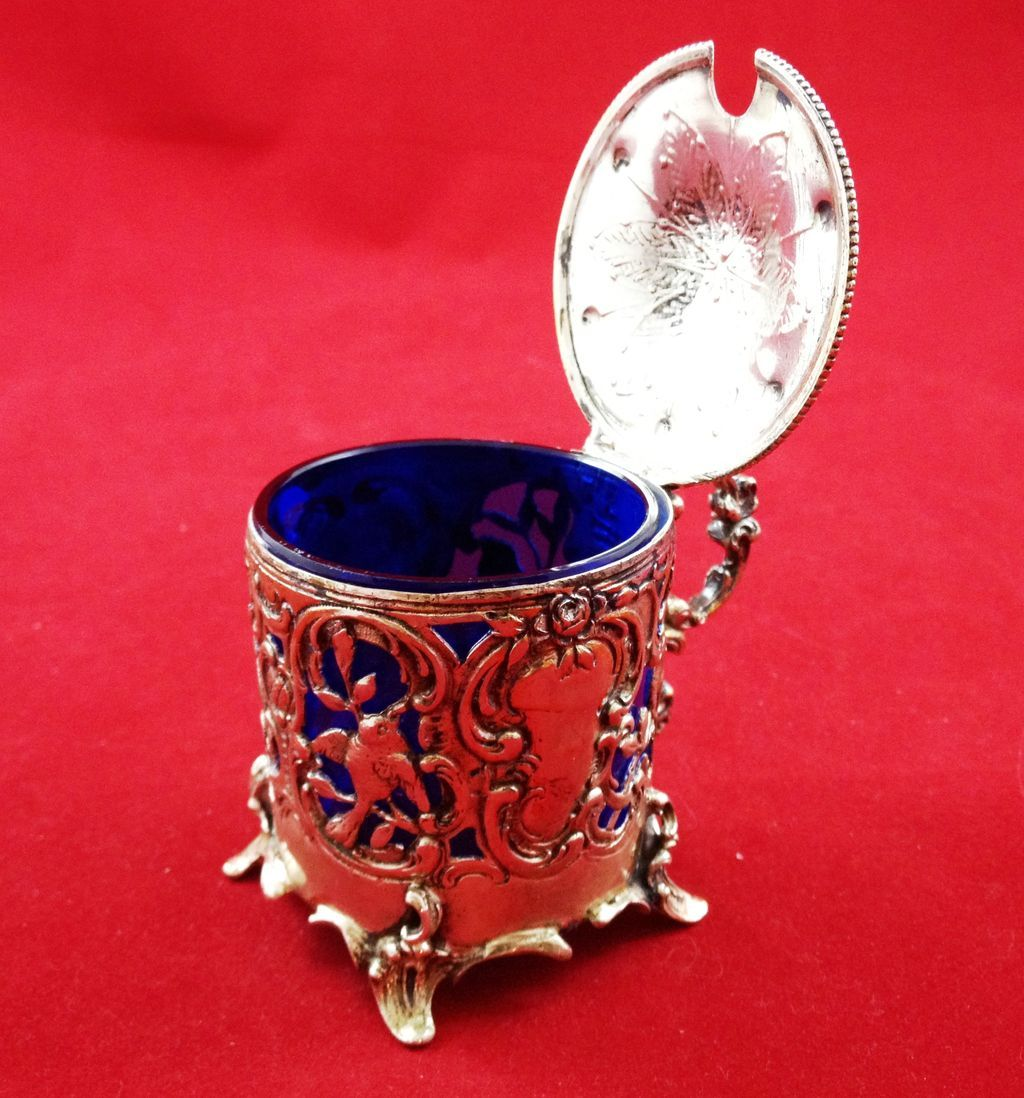 Beautiful Hanau 800 silver mustard pot