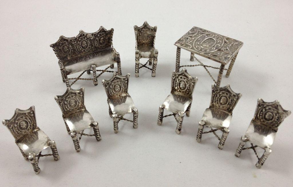 Impressive set of 800 silver miniature furniture